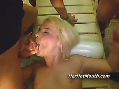 Crazy german gangbang sex with a babe on her knees