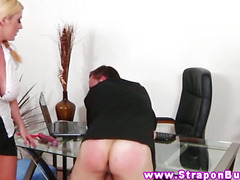 Mistress babes spank and peg their subject