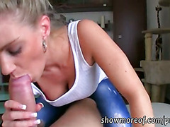 Busty blonde amateur fucked and jizzed for good money