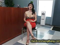 Huge natural tits goth babe gangbanged