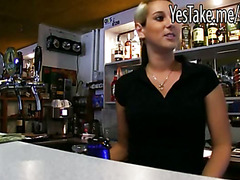 Amateur blonde bartender Lenka gets banged and jizzed on
