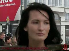 Shackled babe flashing in public