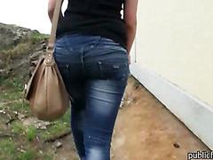 Amateur european slut gets fucked at the park for cash