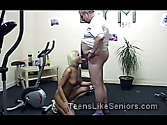 Young blond juggy gets fucked by horny grandpa at gym