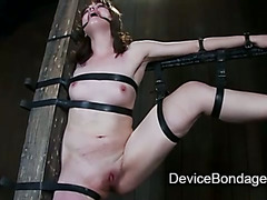 Strapped to a post babe pussy toyed