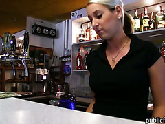 Big tits amateur bartender payed and fucked at the bar