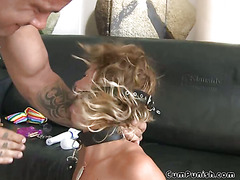 Blonde Gets Her Ass Pounded While Bound And Gagged