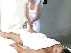 Massage consists of lesbian fingering for the eager client