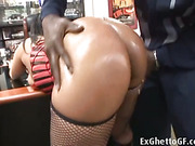 Black girl doing porn casting with a huge black guy with monster cock