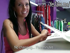 Skinny amatuer slut gets fucked at the boutique for cash