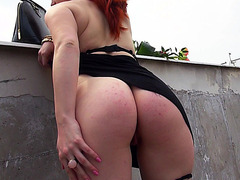 Horny redhead Czech slut Florence asshole fucked for money