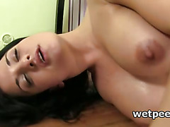 Babe in pantyhose dildo self fucks and drinks her piss