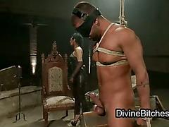 Mummified guy dick jerkd off by mistress