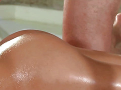 Centerfold banged from behind during massage session