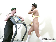 Instructor Helps MILF Workout Then Fingers Her