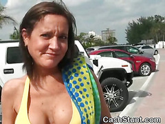 Brunette With Big Tits Flashing In Front Seat For Cash