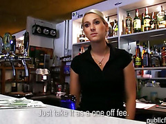 Amateur blonde bartender babe gets fucked and jizzed on