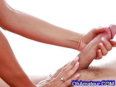 Sexy brunette gives massage