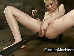 Skinny ass blonde fucked by machines