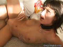 Brunette Gets Fucked And Choked With Cock