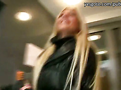 Real amateur blonde Czech babe Katka pounded for some cash