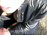 Willing amateur sweetie Katarina sucks and fucks a strangers cock in the park