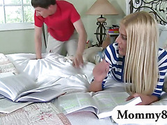 Mature stepmom wants to fuck teen boy with his girlfriend present
