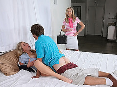 Brandi Love gets so turned when she caught her stepdaughter fucking with her bf