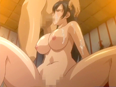 Busty Japanese hentai blowjob a cock