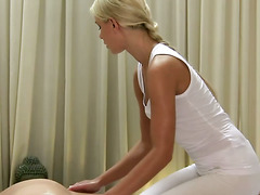 Massage model amateur lesbian rubbing her beautiful client