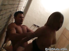 Blonde Girl Fucked Over A Counter In Nightclub Bathroom