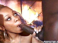 Ebony babe addicted to chocolate cum