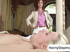 Huge boobs Syren De Mer busted her step son fucking her GF