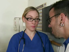 CFNM femdom nurse babes tugging cock for black patient