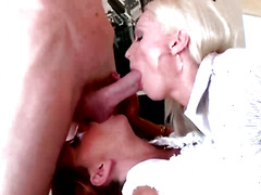 Hungry CFNM mature milfs sucking on dick in this hot group