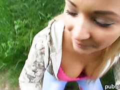 Cute Eurobabe Lana hard banged in public location for money