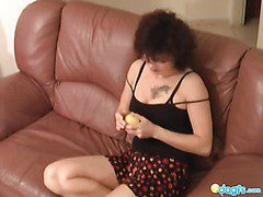 Slutty milf Zharona rock in the sofa