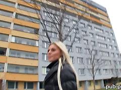 Big tits amateur blondie Eurobabe Katka pounded for money