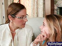 Samantha Ryan walks in on stepdaughter Ava Hardy having sex