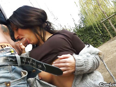 Susy Gala is on her knees sucking a big cock