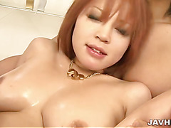 Busty Sara has two hard dicks to manage as she is face fucked in her livingroom.