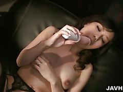 Manami Komukai takes icecubes to her super puffy nipples.