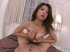 Furry muff honey Satomi Suzuki finds her pussy fingered before she gives a titty fuck.