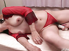 Big titty babe Yukari shows off in red lingerie before plugged