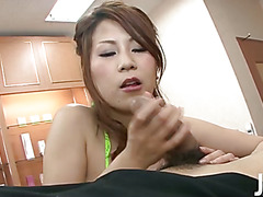 Yuki Aida is a sales rep at a spa and she gets a lot of different customers, but this guy turns her on with his charm so she gives him a full treatment including a blowjob and a titty fuck