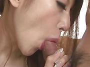Mai Shirosaki's boyfriend brings a long a friend so they can both fuck her