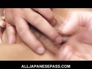 Busty Japanese honey Serina Hayakawa takes on two dicks