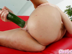 Veggie fuck as redhead cums with cucumber