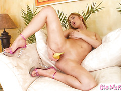 Lovely Lena inserts speculum and banana