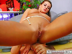 Sexy chick gets butt fucked and the cum oozes out